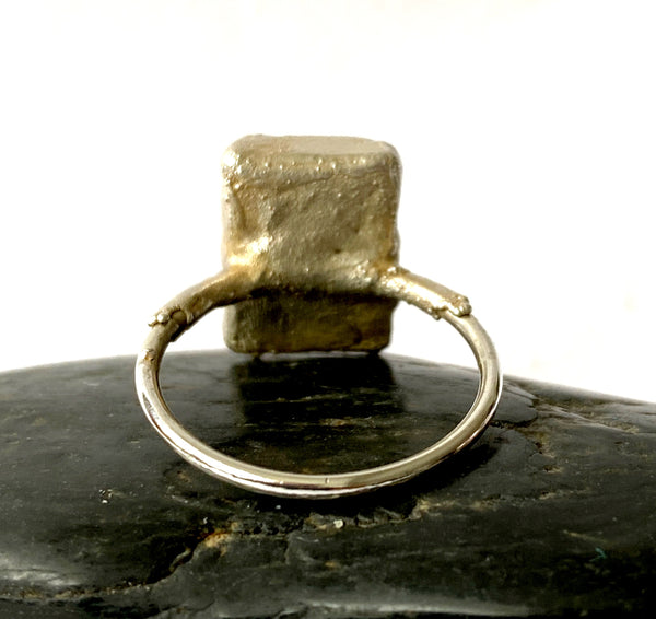 Moonstone Silver & Copper Formed Ring - Glitter and Gem Jewellery