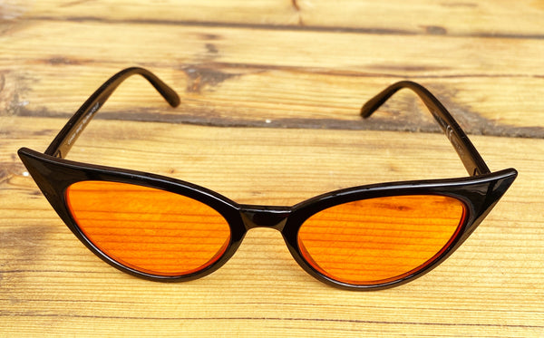 Pointed Retro Black & Orange Sunglasses - Glitter and Gem Jewellery