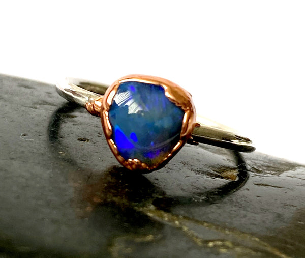Black Opal Copper & Silver Ring - Glitter and Gem Jewellery