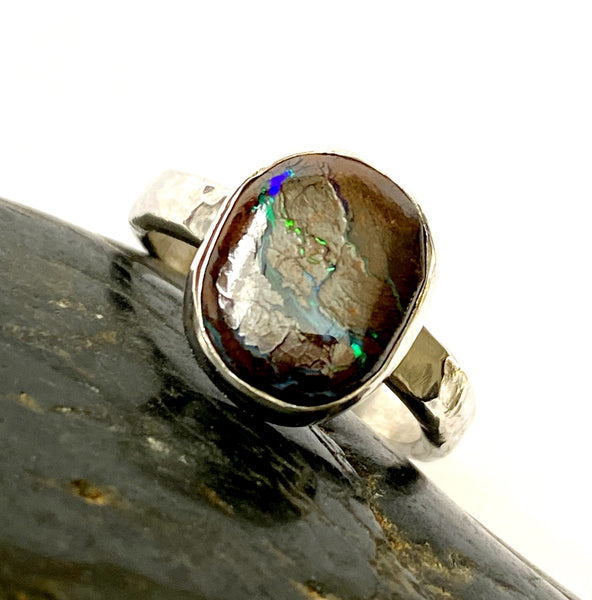 Natural Boulder Opal Sterling Silver Ring - Glitter and Gem Jewellery