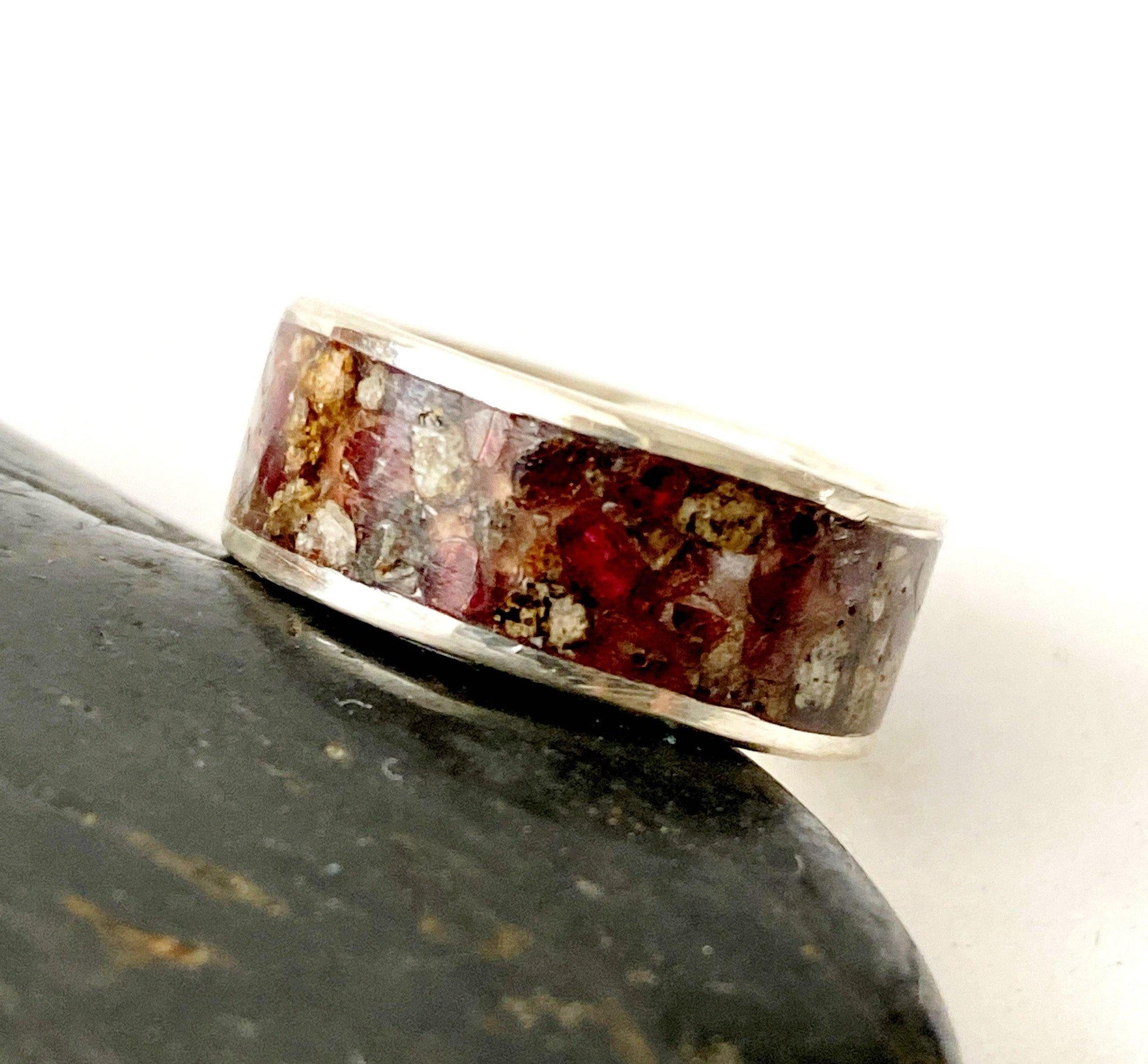 Garnet Inlay Sterling Silver Ring