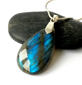 Teardrop Labradorite Sterling Silver Pendant Necklace - Glitter and Gem Jewellery