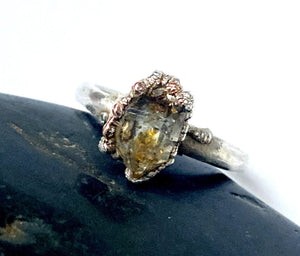 Herkimer Diamond Copper & Silver Formed Ring