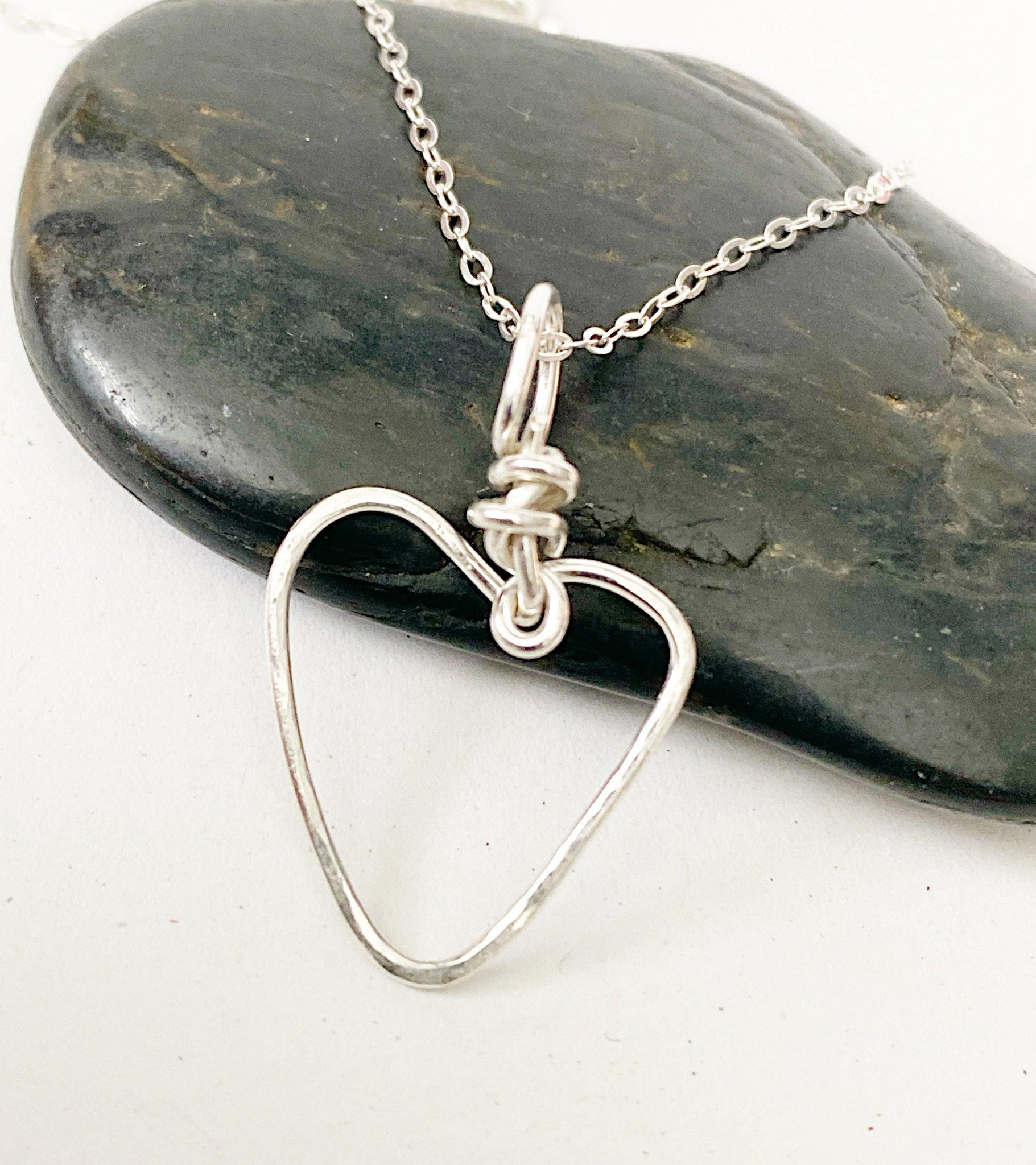 Heart Sterling Silver Wire Pendant Necklace