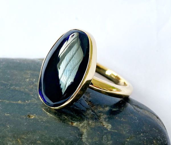 Solid Black Opal 9 Carat Gold Ring - Glitter and Gem Jewellery