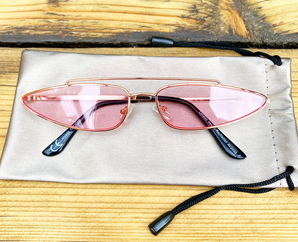Rose Pink & rose gold pointed wide Sunglasses - Glitter and Gem Jewellery