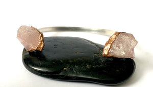 Rose Quartz Sterling Silver & Copper Formed Cuff Bangle - Glitter and Gem Jewellery