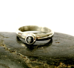 Natural Black/Silver Sapphire Sterling Silver Stacking Ring - Glitter and Gem Jewellery