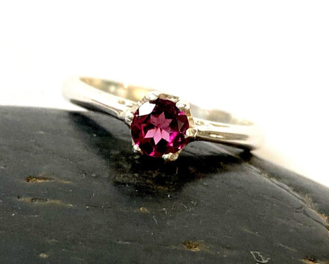 Garnet Faceted Sterling Silver Ring