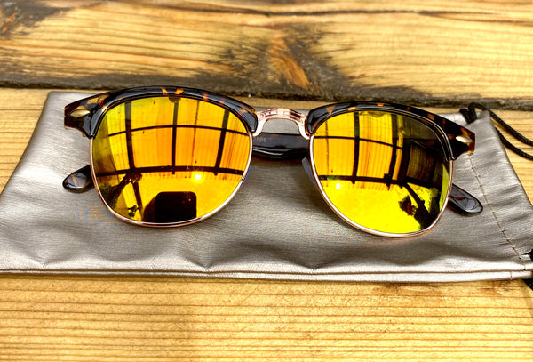 Tortoise Shell & gold mirrored sunglasses - Glitter and Gem Jewellery
