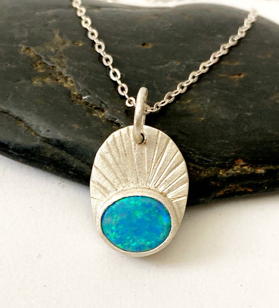 Opal Doublet Sterling Silver Textured Pendant Necklace