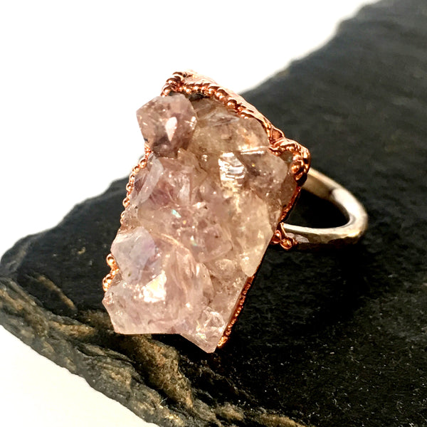 Natural Raw Amethyst Cluster Quartz Copper & Sterling Silver Ring - Glitter and Gem Jewellery