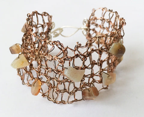 Hand Woven Bronze Agate Bracelet - Glitter and Gem Jewellery