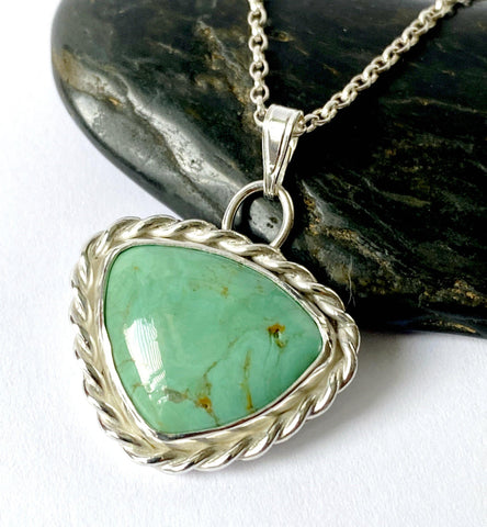 Genuine Green Turquoise Sterling Silver Pendant Necklace