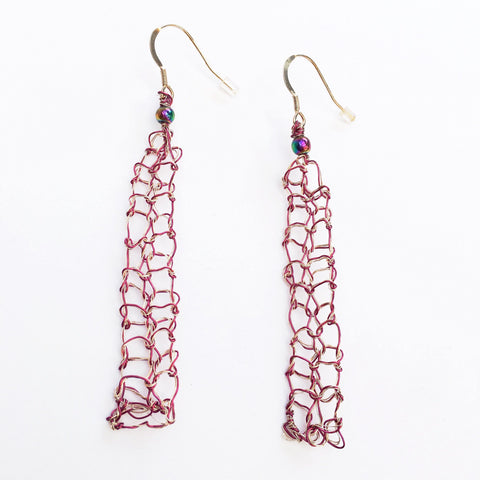 Burgundy & Silver woven with Titanium Quartz Dangle Earrings - Glitter and Gem Jewellery