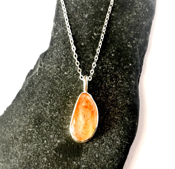 Tanzanian Sunstone Sterling Silver Pendant Necklace - Glitter and Gem Jewellery