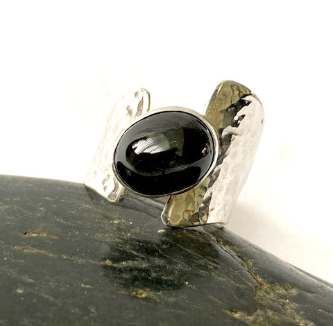 Star Diopside (Star of India) Sterling Silver Ring - Glitter and Gem Jewellery