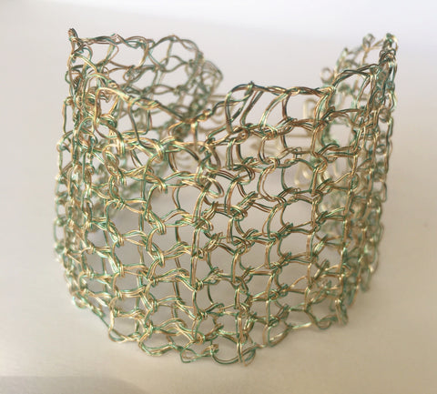 Mint Green & Silver Wire Woven Bracelet - Glitter and Gem Jewellery