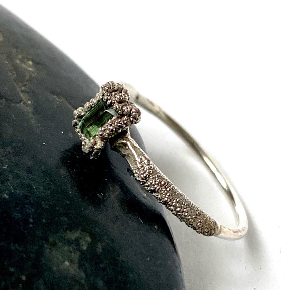 Green Tourmaline Silver Formed Textured Ring