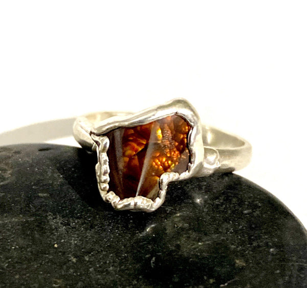 Fire Agate Silver Formed Ring