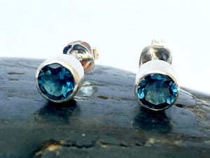 London Blue Topaz Sterling Silver Stud Earrings - Glitter and Gem Jewellery
