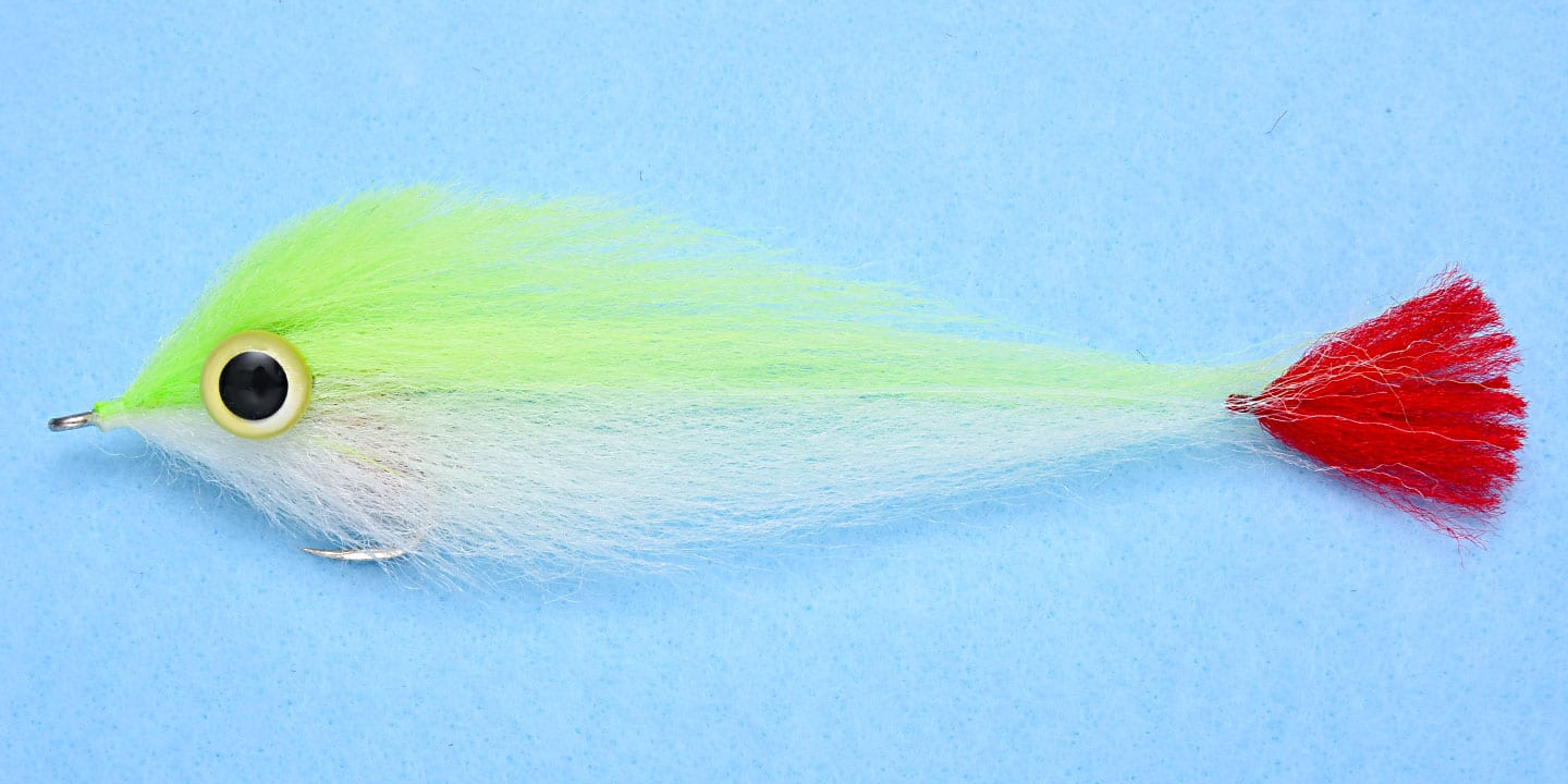EP Big Eyes Red Tail Chartreuse/White #6/0
