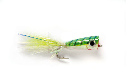 Mylar Popper Chartreuse/White #2/0 - Fulling Mill Flies