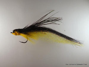 Flat Nose Andino Deceiver - Yellow / Black Synthetic #4/0 - Dan Johnson Custom Saltwater Flies