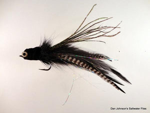 Flat Nose Andino Deceiver - Black / Grizzly Hackle #3/0 - Dan Johnson Custom Saltwater Flies
