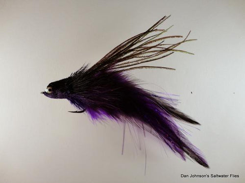 Flat Nose Andino Deceiver - Purple / Black Hackle #3/0 - Dan Johnson Custom Saltwater Flies