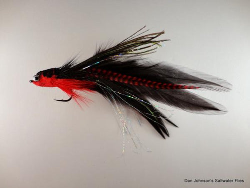Flat Nose Andino Deceiver - Red / Black Hackle #3/0 - Dan Johnson Custom Saltwater Flies