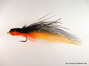 Flat Nose Andino Deceiver - Orange / Black Synthetic #4/0 - Dan Johnson Custom Saltwater Flies