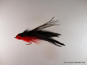 Baby Andino Deceiver - Red / Black Hackle #2/0 - Dan Johnson Custom Saltwater Flies