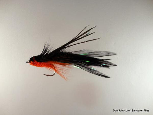 Baby Andino Deceiver - Orange / Black Hackle #2/0 - Dan Johnson Custom Saltwater Flies