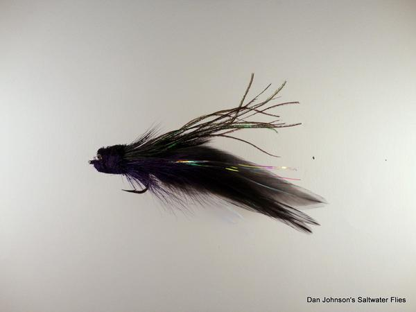 Baby Andino Deceiver - Purple / Black Hackle #2/0 - Dan Johnson Custom Saltwater Flies