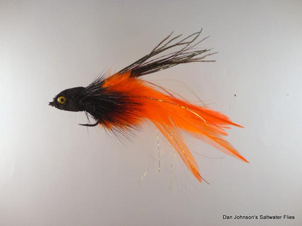 Flat Nose Andino Deceiver - Black / Orange Hackle #3/0 - Dan Johnson Custom Saltwater Flies