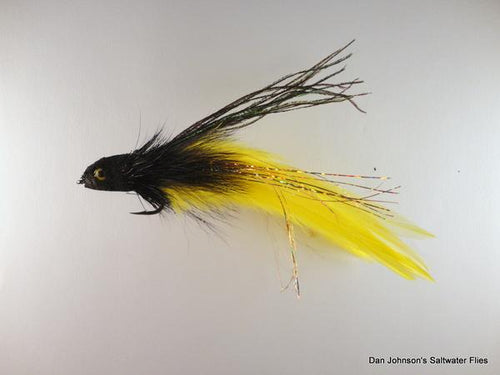 Flat Nose Andino Deceiver - Black / Yellow Hackle #3/0 - Dan Johnson Custom Saltwater Flies