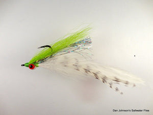 Peacock Bass DeClouser - Chartreuse / White - Dan Johnson Custom Saltwater Flies