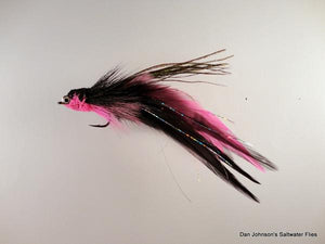 Flat Nose Andino Deceiver - Black / Pink Hackle #3/0 - Dan Johnson Custom Saltwater Flies