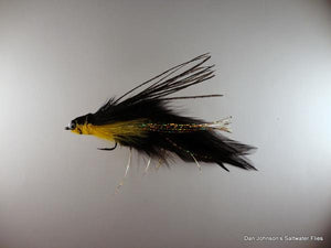 Flat Nose Andino Deceiver - Yellow / Black Hackle #3/0 - Dan Johnson Custom Saltwater Flies
