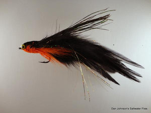 Flat Nose Andino Deceiver - Orange / Black Hackle #3/0 - Dan Johnson Custom Saltwater Flies