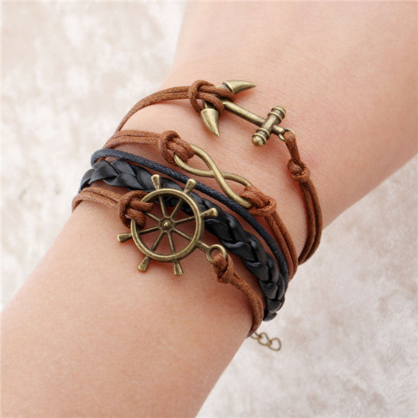 Double Leather Multilayer Charm Bracelet.