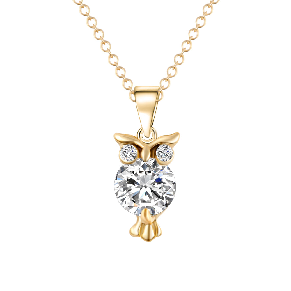 Gold or Silver Color Necklace Zircon Owl Pendants