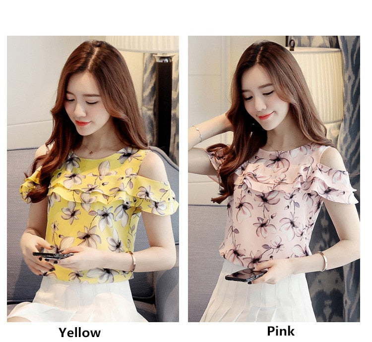 Off Shoulder Short Sleeve Blouses Print Floral Chiffon Shirts