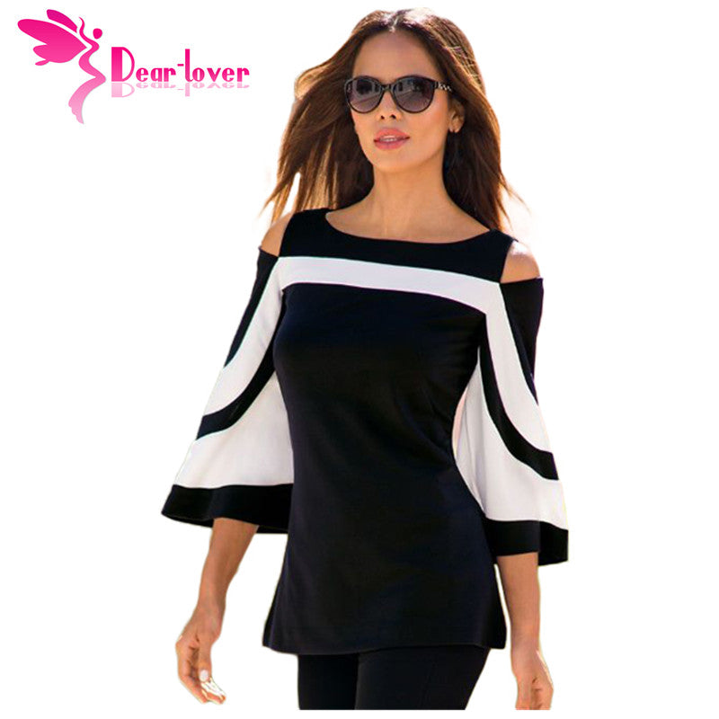 Women Black White Bell Sleeve Cold Shoulder
