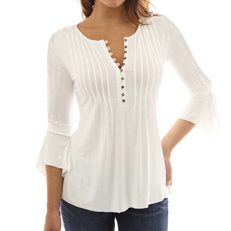 Elegant Ruffles Top Flare Sleeve Solid Casual Loose Shirt