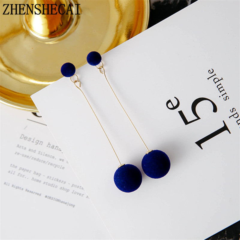 Beautiful Elegant Stylish Plush Ball Drop Earrings