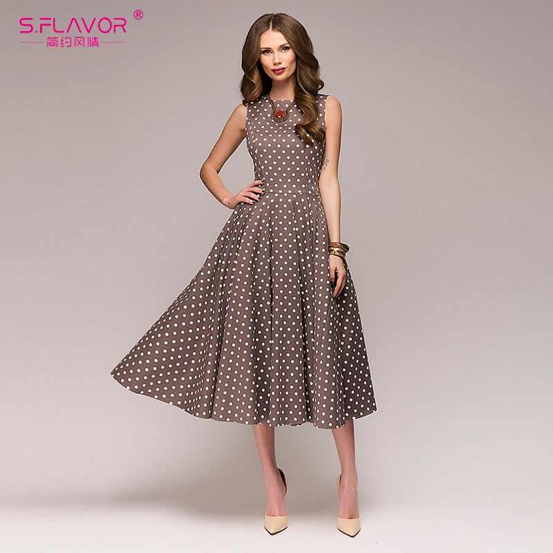 New sleeveless O-neck elegant polka dot printing Mid-Calf dress