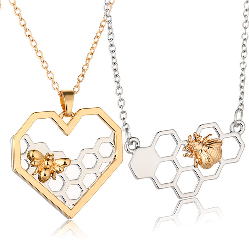 Silver/Gold Heart Honeycomb Bee Pendant Necklaces