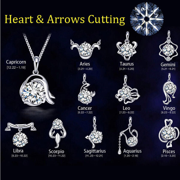 Constellation/Zodiac Silver Plated Pendant Necklace For Women